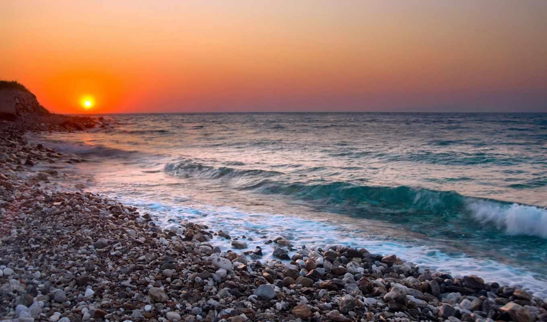 море, галька, закат, волны, горизонт, surf,