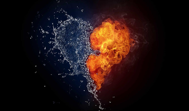 cool, сердце, огонь,