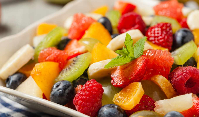 плод, салат, фрукты, кусочки