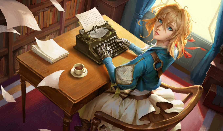 фиолетовый, evergarden, anime, typewriter, anim, девушка, pinterest