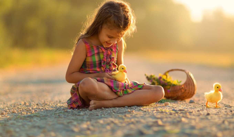 девушка, утенок, корзина, цветы, little