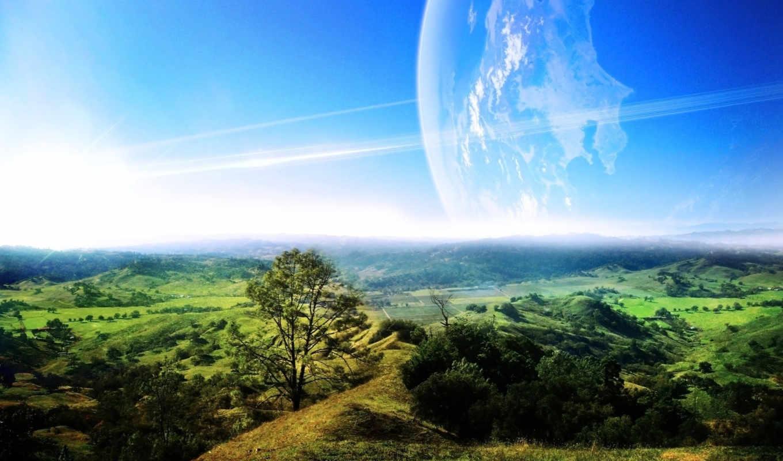 долина, пейзаж, облака, зелень, небо, дымка, дерево, зелёная,