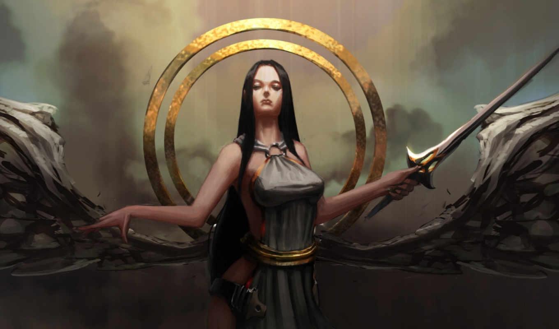 ангел, круги, девушка, крылья, арт,