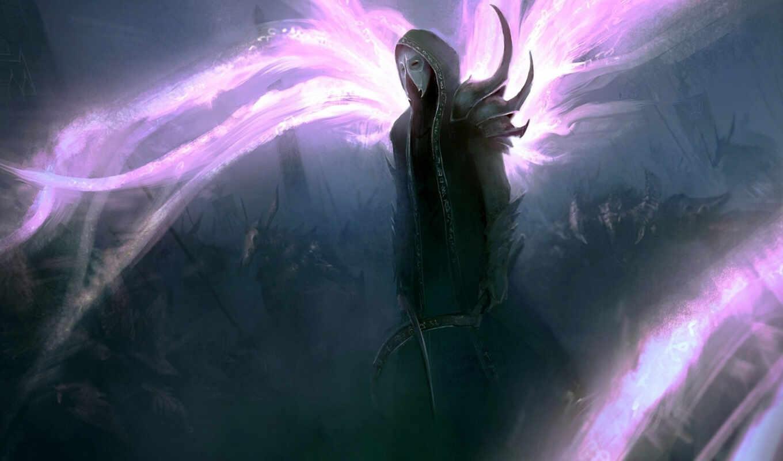 мужчина, маска, нежить, оружие, армия, магия, арт, witcher,