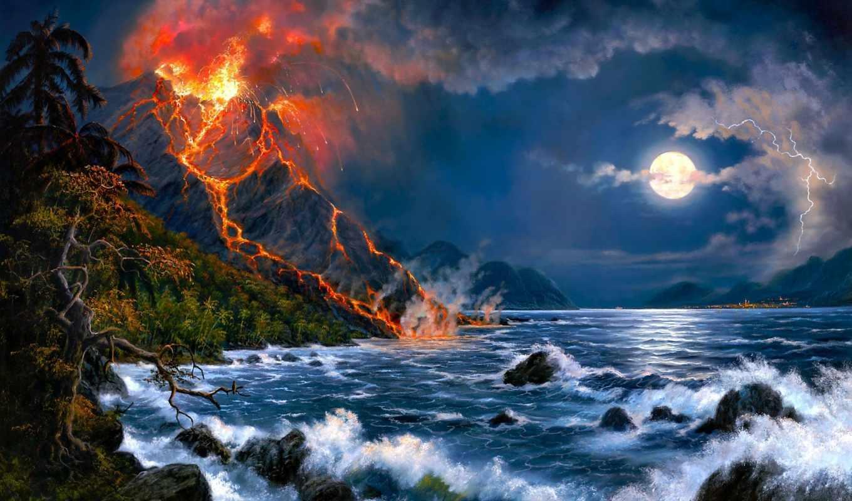 barnes, вулкана, jesse, извержение, арт, вулкан, пейзаж, море, картинка, картинку,