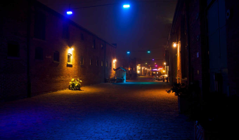 фонари, ночь, огни, город, стены, дорога, улица, свет, неоновый,