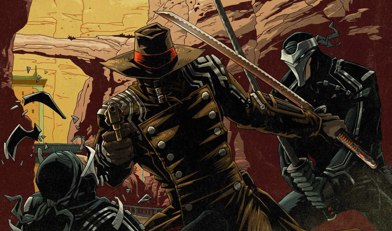 плащ, катана, red, револьвер, герой, шляпа, самурай, stel,