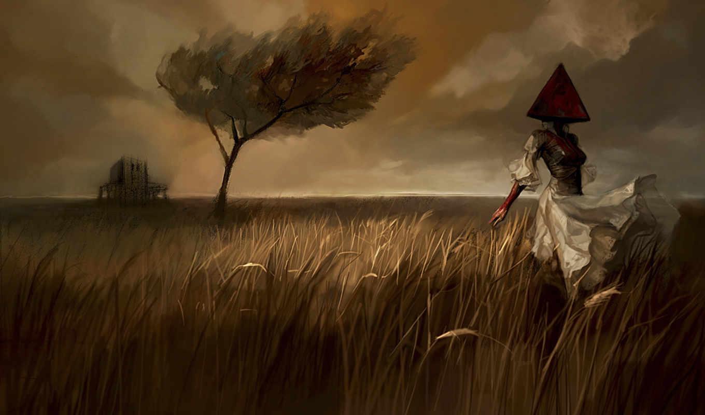 silent, hill, art, темы, сайлент, ведьмак, пирамида, голова,