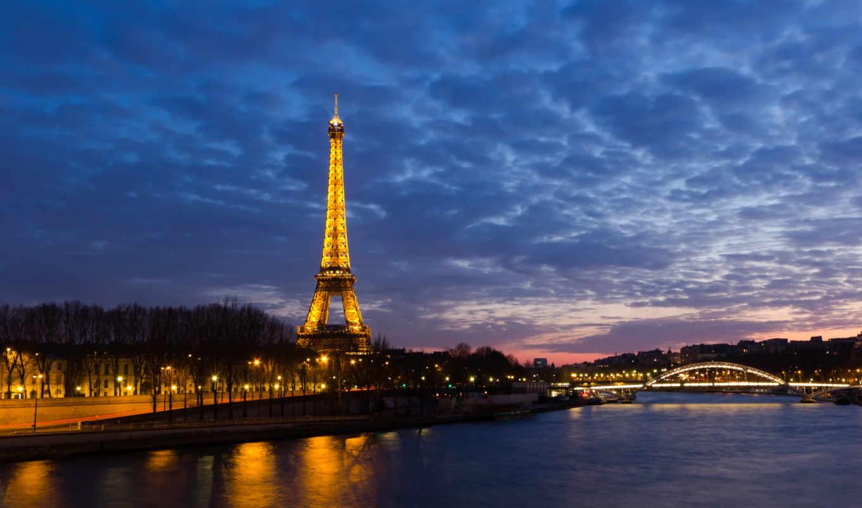 эйфелева, башня, париж, ночь, франция, огни, река,