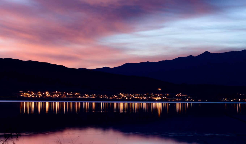 закат, горы, вечер, озеро, reservoir, landscape, горизонт, закате, морские, огни, suda,