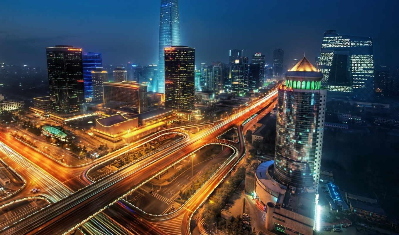 neighborhood, город, ночь, огни, section, вид, высотки,