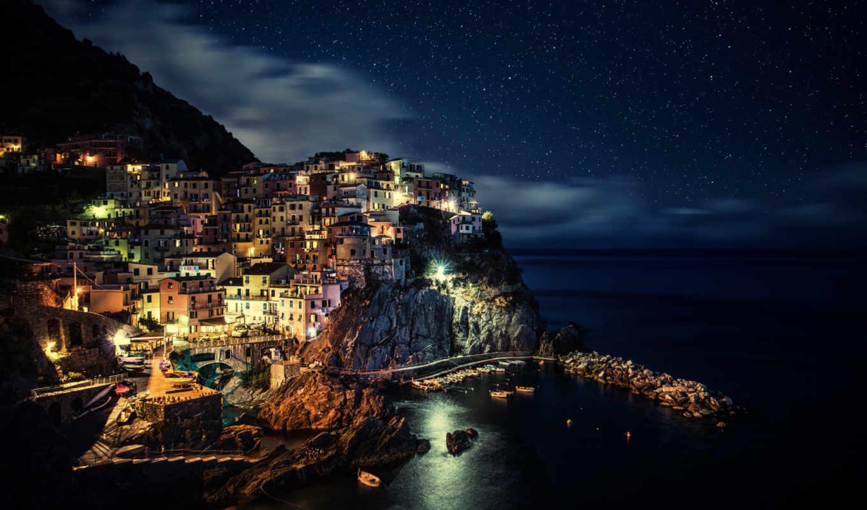 город, города, ночь, manarola, italy,
