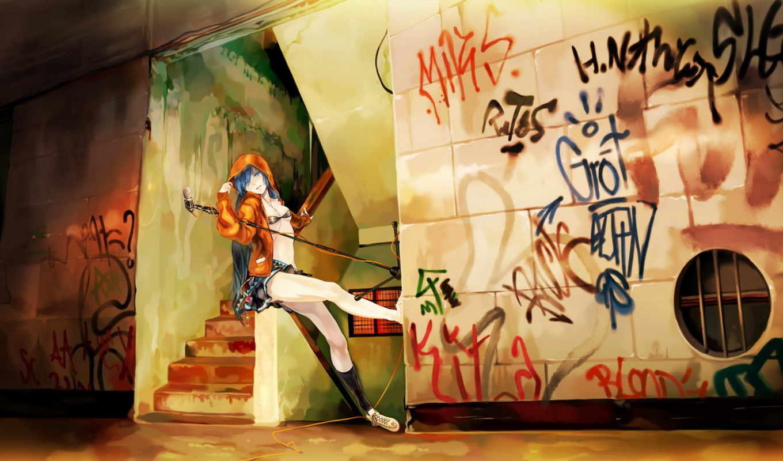 аниме, вокалоид, музыка, граффити, микрофон, стена