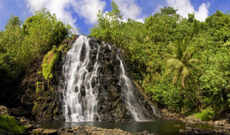 водопад, вода, скала, красота, зелень, камни, солнце, деревья, картинку, картинка, мыши, природа, кнопкой, пальмы,