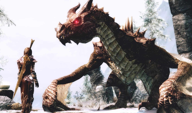 skyrim, дракон, elder, scrolls, девушка, игры, воин,