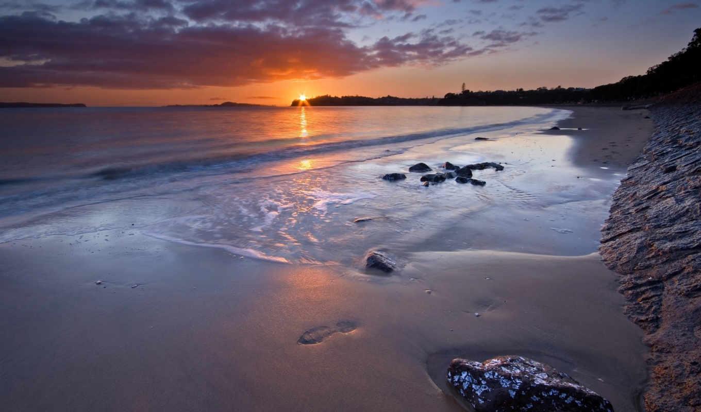 закат, пляж, море, новая, небо, zealand, природа,