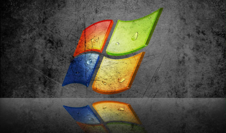 windows, xp, лого, царапины, отражение, серый