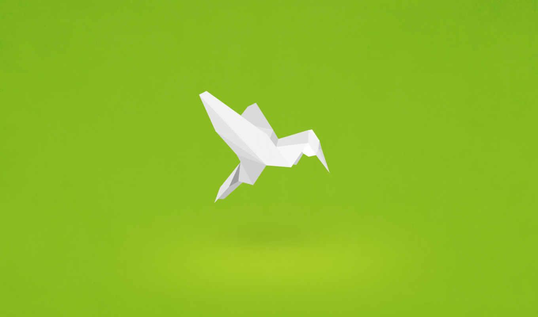 ,оригами, Минимализм, птица, бумага, колибри,