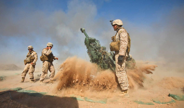 гаубица, корпус, выстрел, гаубицы, пехоты, сша, морской, firing, оружие, картинка, война, солдаты,