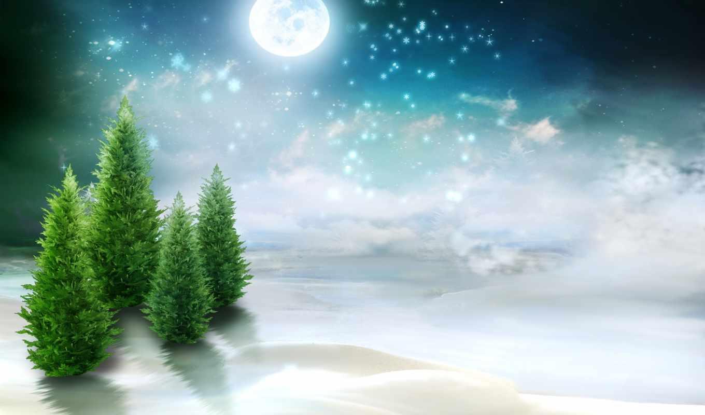 небо,елки, луна,