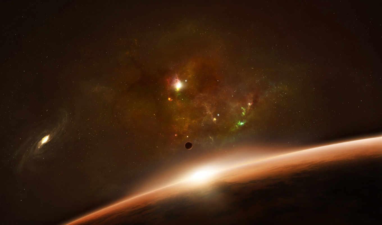 галактика, space, планета, взгляд, космоса, горизонт, планеты, туманность, красная, звезды, картинка,