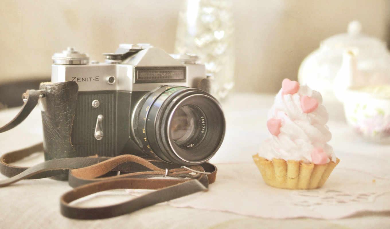 camera, old, зенит, объектив, пироженое