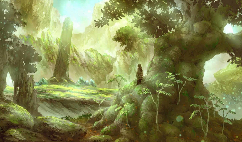 мужчина, природа, рисунок, деревья, картинка,