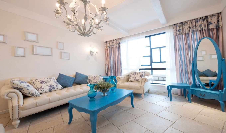 интерьер, color, интерьере, диван, комната, blue, стиль, может, подушки, design,