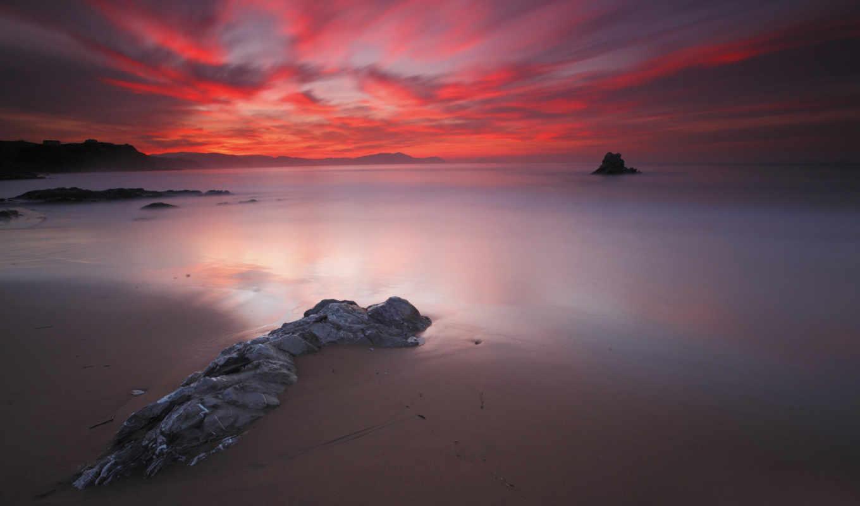 закат, red, со, море, красивый, закате,