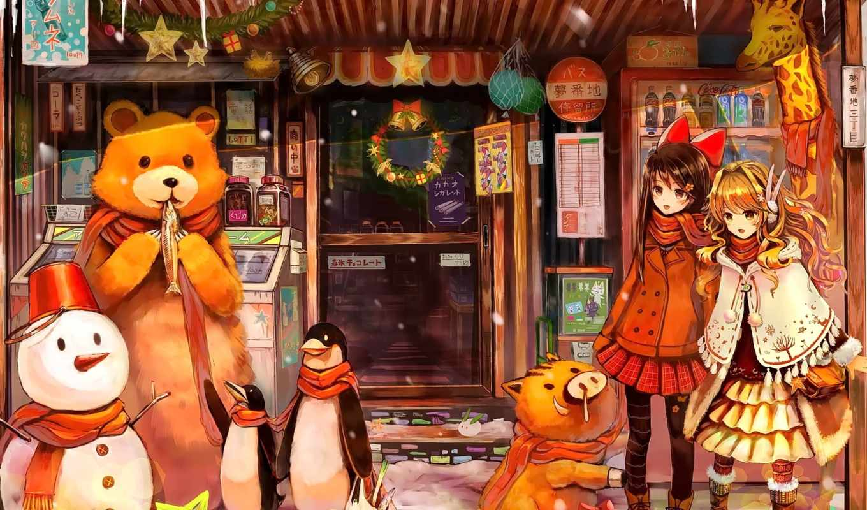 anime, год, new, девочки, art, devushki, магазин, winter, снеговик, парень, море,