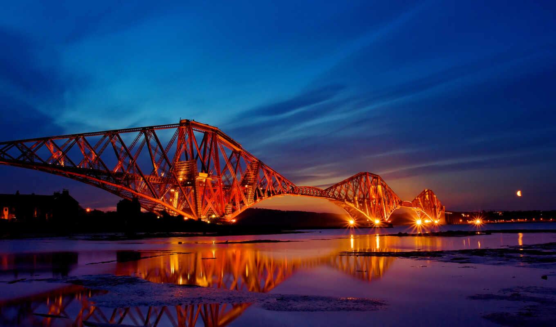 мост, город, вечер, огонь, взгляд, ночь, прочие, отражение, картинка