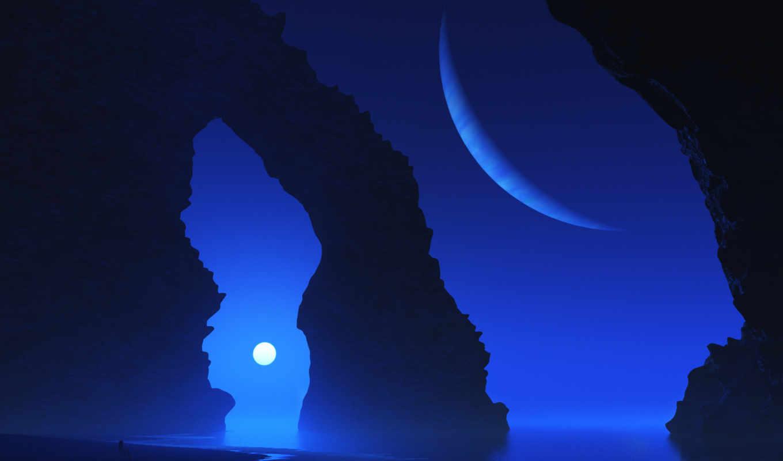 море, арка, планета, maya, скала, digital, арт, кнопкой, скалы, закат, пейзаж, девушка, картинка,