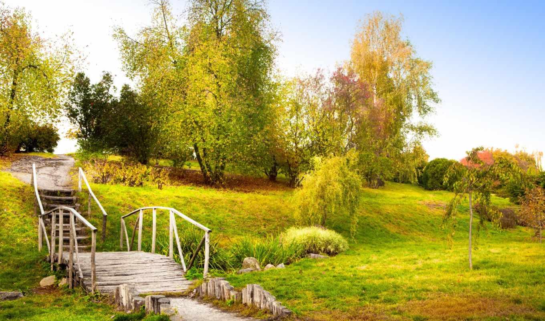 осень, пейзаж, трава, мост, ступеньки, природа, старый, листья, картинка, деревья, картинку, мыши, кнопкой, разрешением, правой, ней, выберите, скачивания, save,