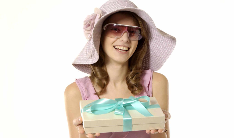 девушка, подарок, подарком, покупками, девушки,