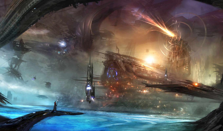 корабли, alex, ruiz, art, картинка, озеро, город, море, water,