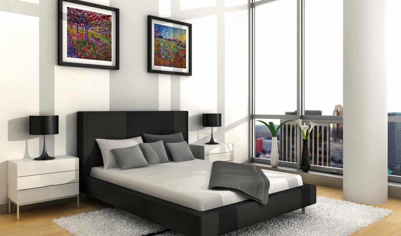 спальня, интерьер, белая, мебель, близко, комнате, tidur, kamar, кровать, desain,