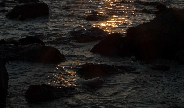 ,волны,скалы,закат,