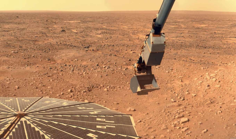 марс, вид, зонд, картинка, вертикали, phoenix, имеет, горизонтали,