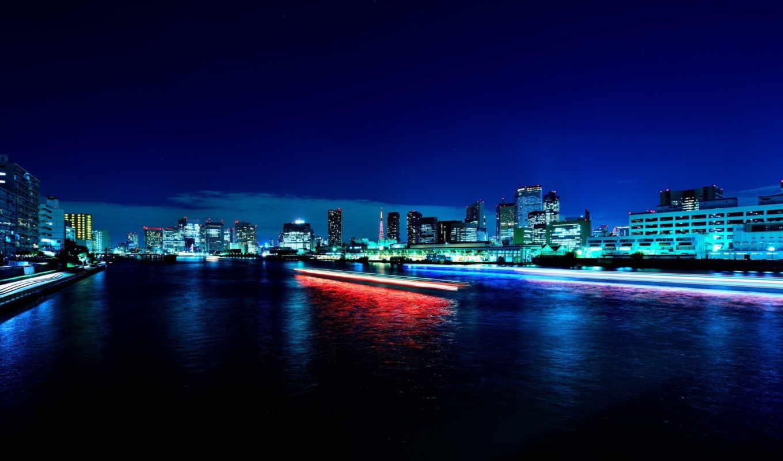 ночь,пейзаж,река,город,небо,