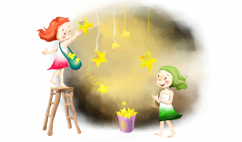 дети, девочки, босиком, стремянка, небо ведро, звездочки, улыбка