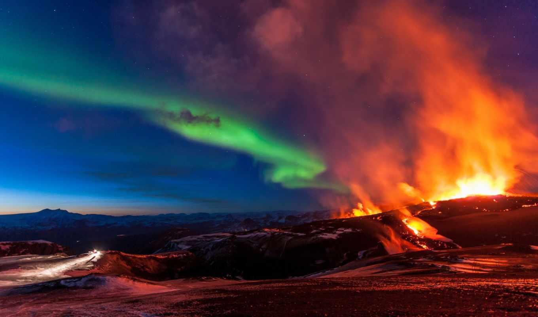 вулкан, aurora, iceland, огни, фото, borealis, erupting, amazing, northern, извержение,