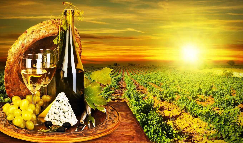 вино, виноград, белое, бутылка, качестве, бокалы,