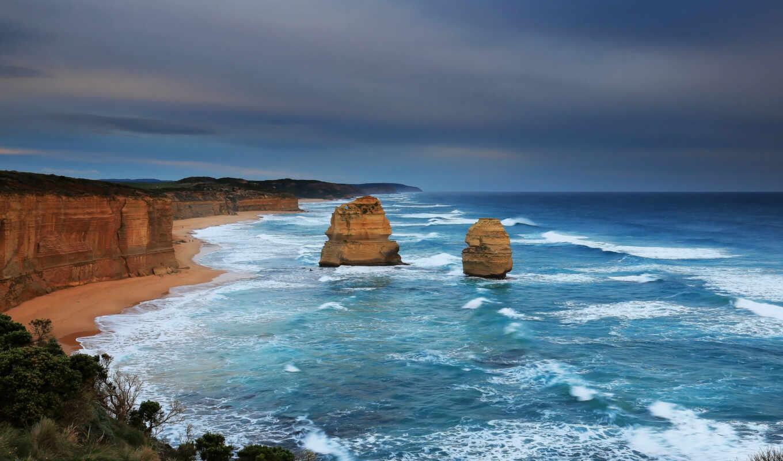 ,океан, берег, австралия, скалы, пейзаж,