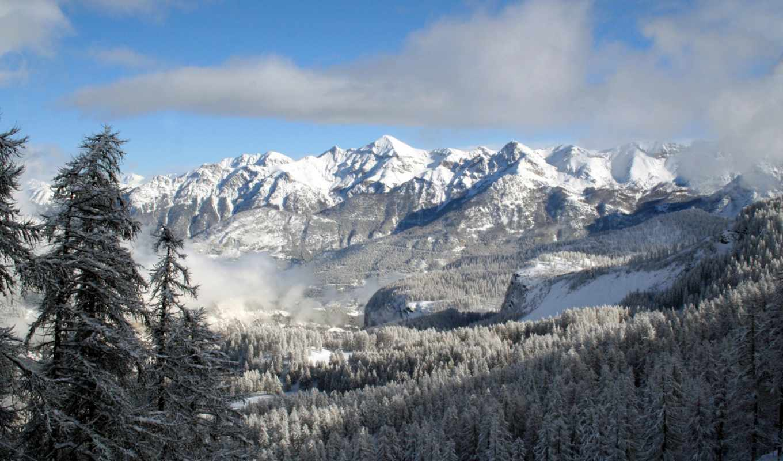 лес, горы, winter, landscape, горах, снег, небо, банка,