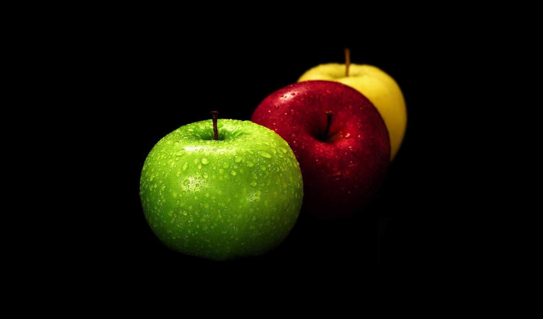 apples, desktop, яблоки, black, iphone, ipad, download, background, красный, зелёный,