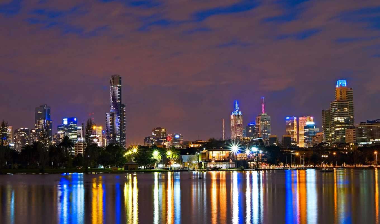 город, австралия, ночь, огни, мельбурн, картинка,