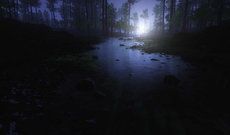 рассвет, утро, лес, вода, камни, деревья,