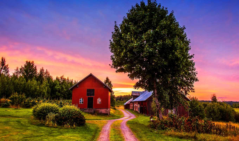 ферма, landscape, trees, природа, поля, картинка, landscapes,
