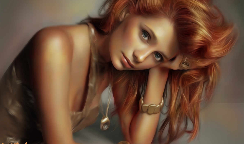 девушка, рыжие, волосы, art, смотреть, лицо, волосами,