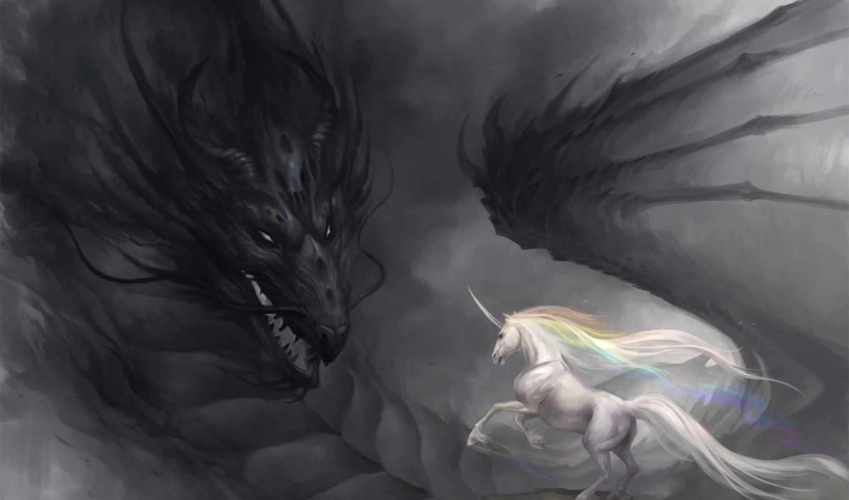 дракон, радуга, мрачность, единорог, арт, sandara, картинка,